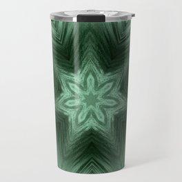 Green Star Flower Blossom Metallic Color #Pattern #Background Travel Mug