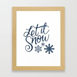 Let It Snow Blue Glitter Typography Winter Framed Art Print