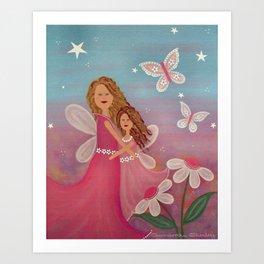 Always & Forever - Mother Daughter Angels Kids Art Art Print