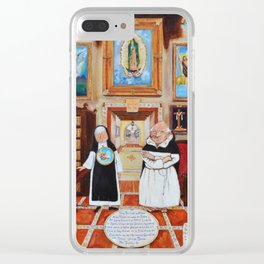Sister Laica and Fray Polito in the Guadalupana Library of the Carmelite Convent with Tennis Clear iPhone Case