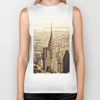 new york skyline Biker Tanks featuring New York City Skyline by Vivienne Gucwa