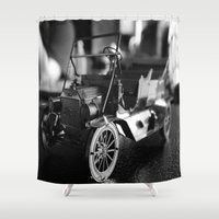 model Shower Curtains featuring Model-T model car by Alma Vargas
