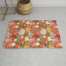 VINTAGE BOTANICAL GARDEN - FLAME RED Rug
