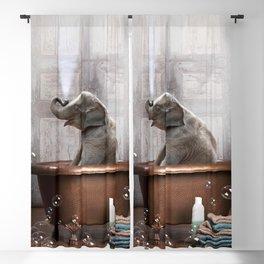 Elephant in Vintage Bathtub Blackout Curtain