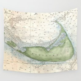Vintage Map of Nantucket (1857) Wall Tapestry