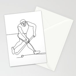 Field Hockey Player Continuous Line Stationery Cards