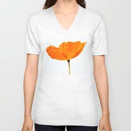 One And Only - Orange Poppy White Background #decor #society6 #buyart Unisex V-Ausschnitt