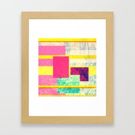 Colorful modern watercolor shapes stripes pattern Framed Art Print
