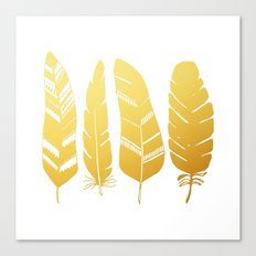 Feathers gold Canvas Print