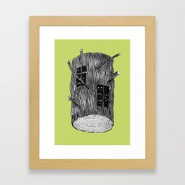 Mysterious Forest Creatures In Tree Log Framed Art Print