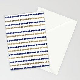 Elegant modern faux gold navy blue polka dots stripes Stationery Cards
