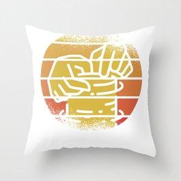 Retro Sun Pottery Wheel Throw Pillow