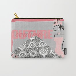 Haute couture retro high fashion crazy hat pink Carry-All Pouch