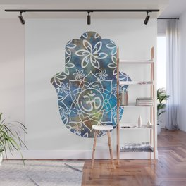 Om Hamsa Hand - colorful abstract Wall Mural