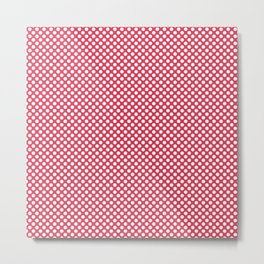 Teaberry and White Polka Dots Metal Print