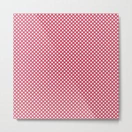 Teaberry and White Polka Dots Metal Print