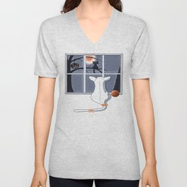 Watching on a Blue Night Unisex V-Neck