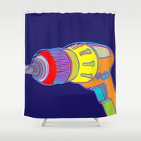 tool Shower Curtains featuring Power Tool by Paco Dozier
