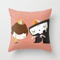 game Throw Pillows featuring Game by Alfonso Cervantes