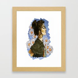 Daisies in blue Framed Art Print