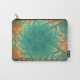 Frozen Flowers I Abstract orange flower, ice mint green water, cute floral pattern Carry-All Pouch