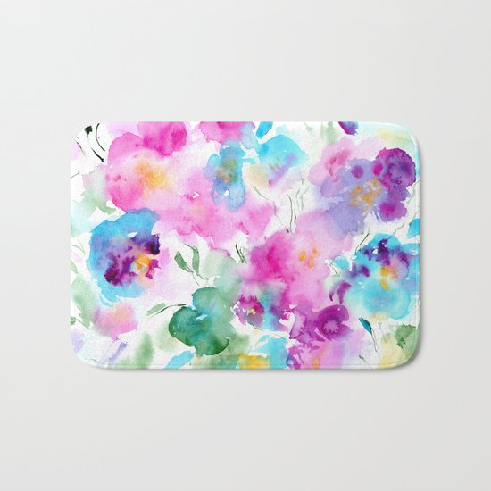Floral abstraction #4 || watercolor Bath Mat