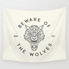 Beware of the Wolves (black) Wall Tapestry