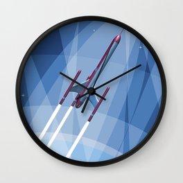 Vintage Rocket Poster Illustration (Color) Wall Clock