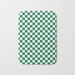 White and Cadmium Green Checkerboard Bath Mat