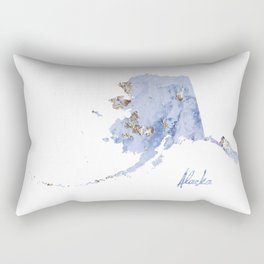 Blue & Gold Marbled Alaska Rectangular Pillow