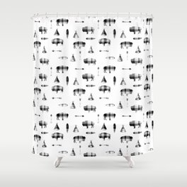 Buffalo Tribe // Grey/Black Plaid Shower Curtain