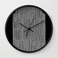 vonnegut Wall Clocks featuring slaughterhouse V - everything was beautiful - vonnegut by miles to go