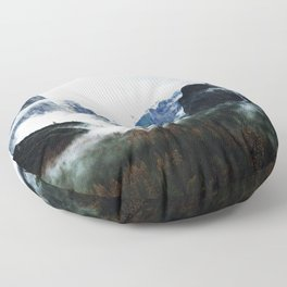 Cloudy Forest Great Outdoors Mountains Photography Floor Pillow