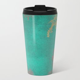 Grunge Garden Canvas Texture:  Pink and Turquoise Floral Travel Mug