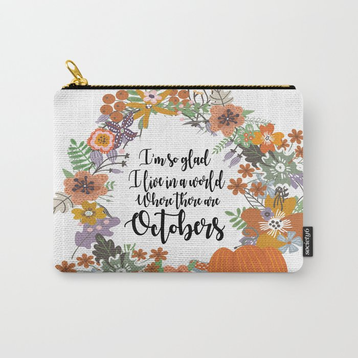 """Anne of Green Gables-L.M Montgomery-""""Octobers"""" design Carry-All Pouch"""