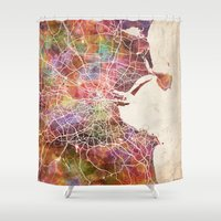 dublin Shower Curtains featuring Dublin map by MapMapMaps.Watercolors