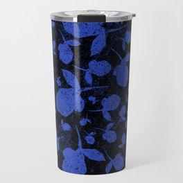 Dark Blue Floral Blooms on Black Travel Mug