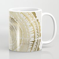 green Mugs featuring Gold Tree Rings by Cat Coquillette