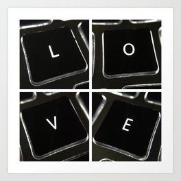 Keyboard Love Square Art Print