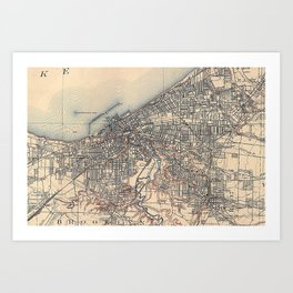 Vintage Map of Cleveland (1904)  Art Print