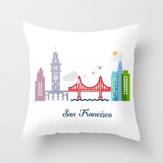 what a colorful city San Francisco, CA.  Throw Pillow