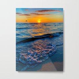 Summer Solstice Sunset on the Beach with Bird (Portrait) Metal Print