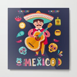 Man with Guitar – Mexico Metal Print