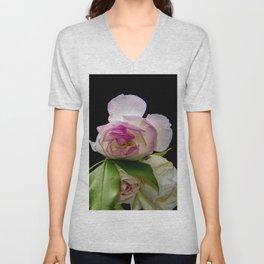 white and pink roses Unisex V-Neck