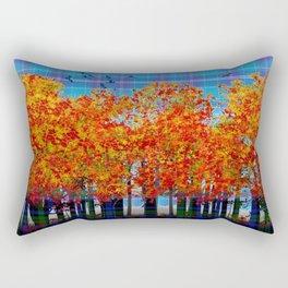 Fall Leaves On Plaid Rectangular Pillow