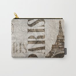 Vintage Paris eiffel tower illustration Carry-All Pouch