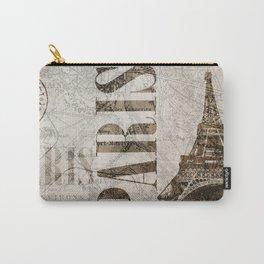 Vintage Paris eiffel tower illustration Carry-All Pouch
