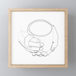 """"""" Kitchen Collection """" - Hands Holding Hot Cup Of Coffee/Tea Framed Mini Art Print"""