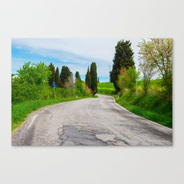 Winding road in green hills Tuscany, Italy Canvas Print