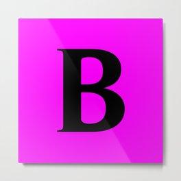 B MONOGRAM (BLACK & FUCHSIA) Metal Print